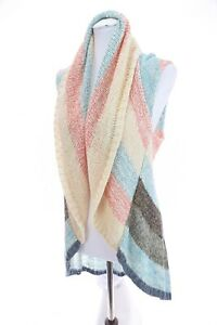 CAbi-Colorful-Color-Block-Striped-Circle-Shawl-Sweater-Vest-Cardigan-Womens-Sz-S
