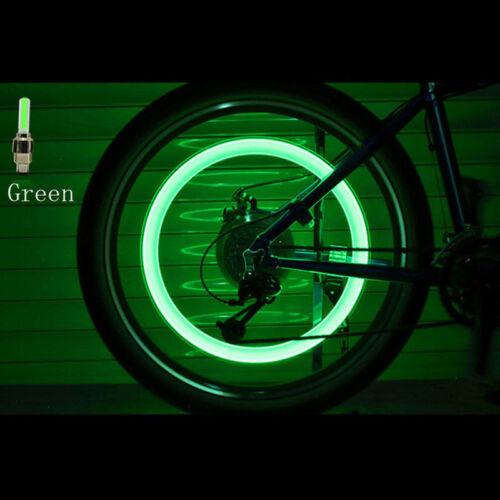Bicycle Motorcycle Bike Wheel Tire Tyre Valve Cap Flash LED Light Spoke Safety