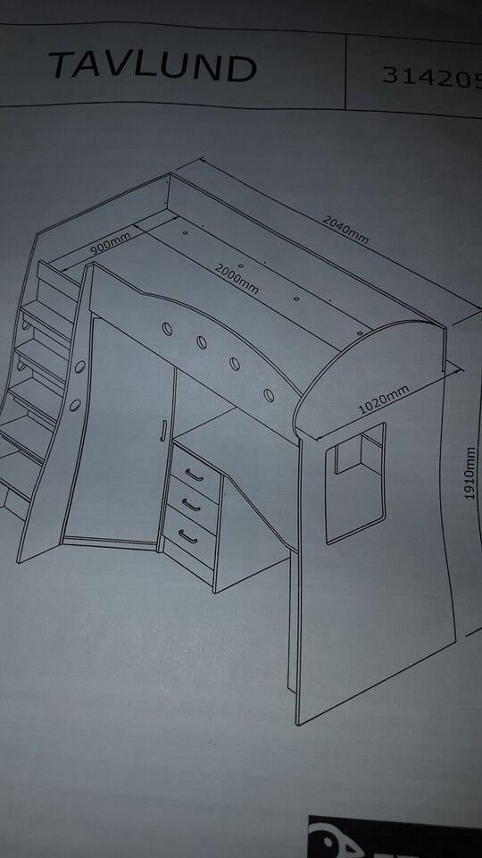 Højseng, Høj seng, b: 90 cm l: 240 cm