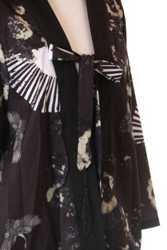 Kj-11 Noir Grue FLEURS EVENTAIL Kimono Sur-veste Geisha Kimono Yukata Japon