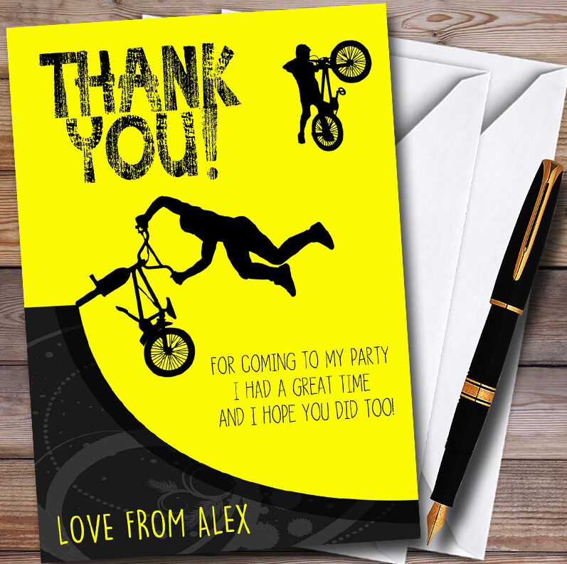 Gelb BMX Bike Cycle Personalised Party Thank You Cards