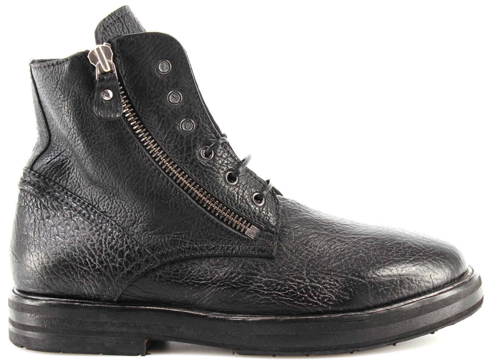 Zapatos Tronchetti hombre MOMA 69701-RA Ruga In Nero Pelle Vintage Made In Ruga Italy New 8d3812