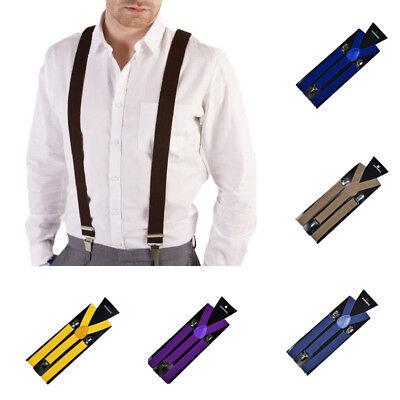 Unisex Womens Mens 2.5cm Y-shape Suspenders Adjustable Clip-on Fashion Braces