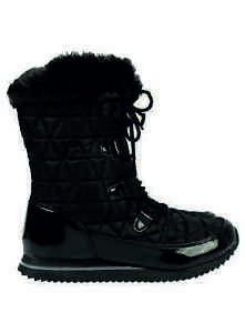George-Snow-Boot-Ex-Store-Black-Quilted-New-Faux-Fur-High-Grip-Sole-Laces-Comfy