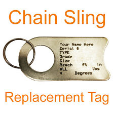 Chain Sling Replacement Tag Identification Engraved Osha