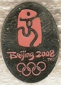 2008 Beijing Red on Silver Oval Olympic Games Mark Pin