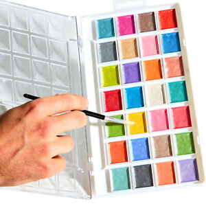 28 Color Iridescent Shimmer Non-Toxic Watercolor Paint Set With Brush