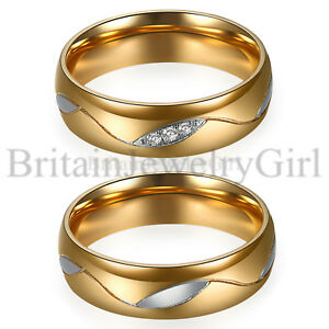 2pcs-His-and-Hers-Couple-Matching-Gold-Stainless-Steel-Wedding-Promise-Band-6MM