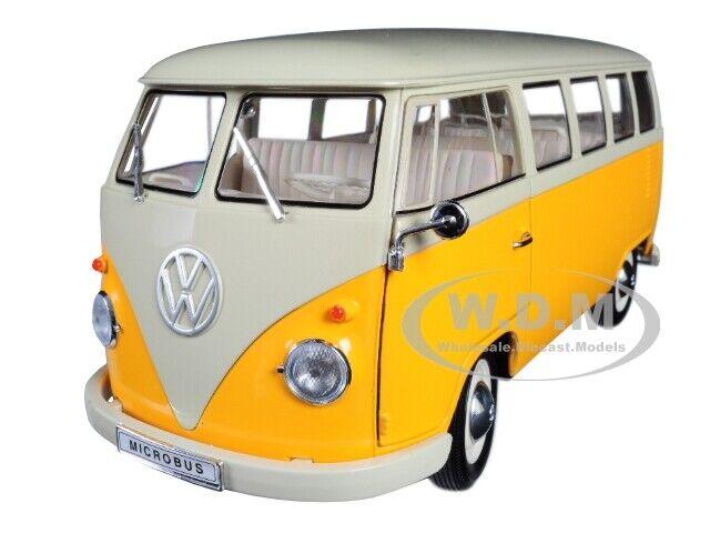 1963 VOLKSWAGEN T1 MICRObuss gul 1  18 DIICANST modelllllerL AV WELLY 18054