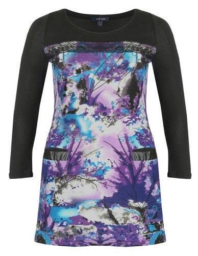 SAMYA PLUS SIZE FLORAL PRINT LACE FAUX LEATHER POCKET DRESS BLUE 20 22 24 26 28