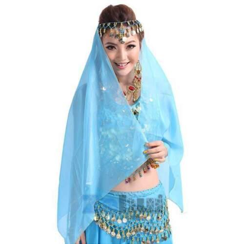 Head Scarf India Belly Dance  Headpiece Chiffon Beaded Coins Bollywood Costume