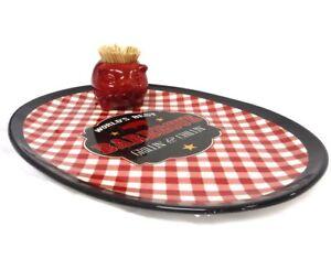 Barbecue-Pig-Picnic-Set-2-Piece-Ceramic-Platter-Toothpick-Holder-Red-Plaid