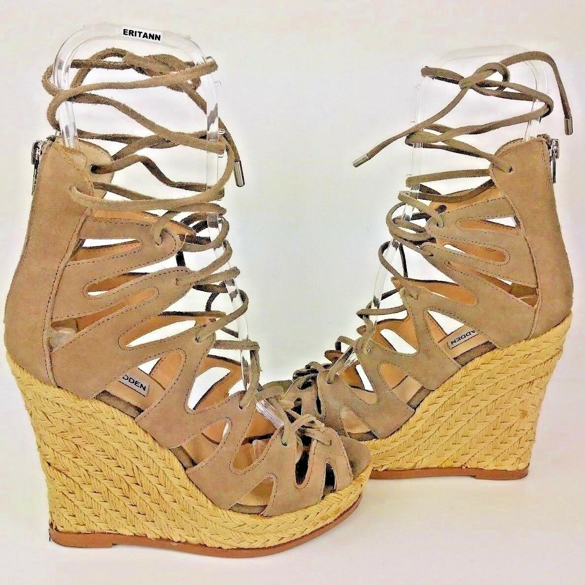 Steve Madden THEEA Wos Sandals Espadrilles US 7M Brown Suede Lace Platforms 1386