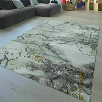 Modern rug living room carpet marble effect fashion small - Gold rugs for living room ...