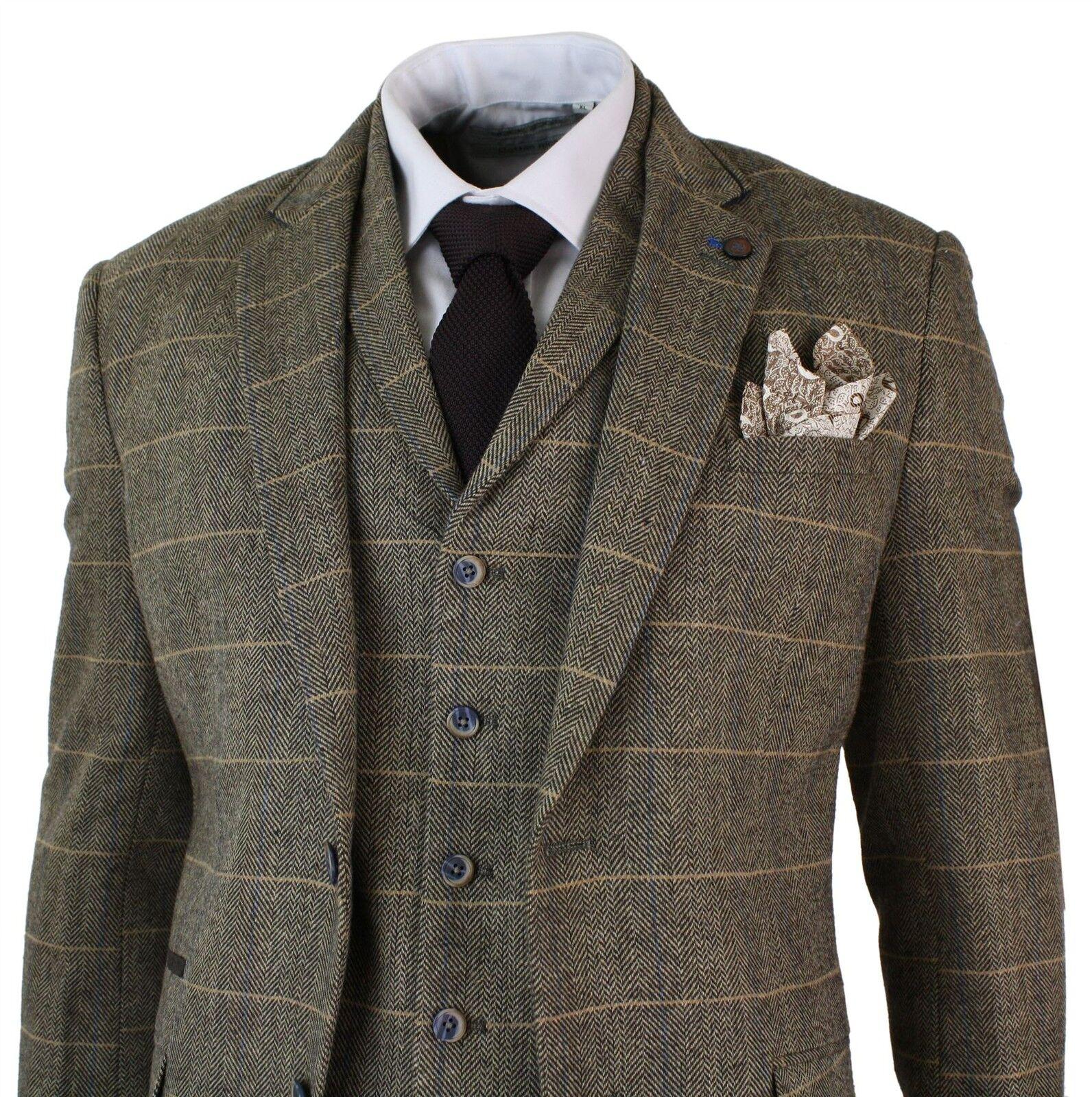 Costume cintré 3 pièces homme tweed classique à chevrons carreaux marron clair