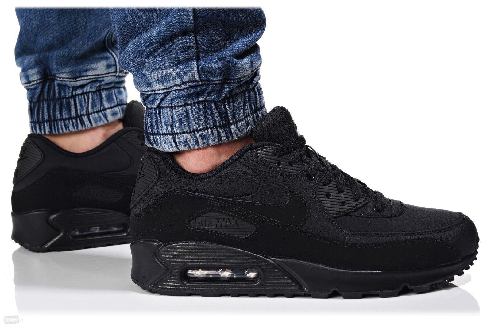 Nike Air Max 90 Essential Triple Black Nylon Suede 13 Running Shoes 537384 072
