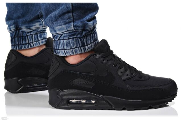 1be1fb8c2b58 Nike Air Max 90 Essential Triple Black Men s Running Shoes 537384-072 sz 10