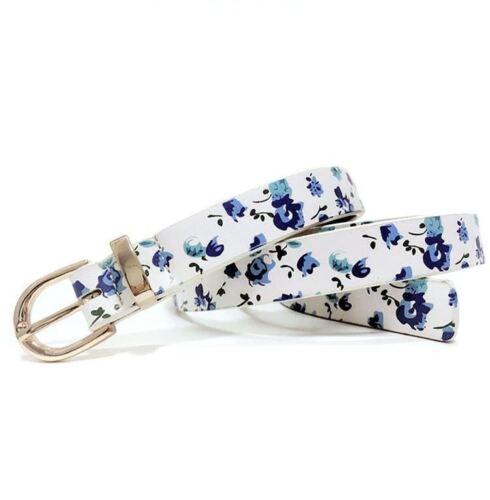 Fashion Print Flower Pattern Belts With Metal Loop Gold Women Belt