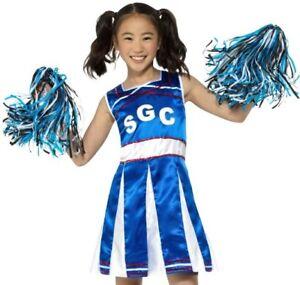 Childrens Girls Fancy Dress Cheerleader Costume   Pom Poms Blue by ... c08252286ad