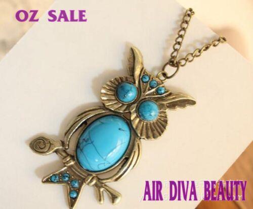 1pc Women Retro Vintage Blue Turquoise Owl Dragonfly Long Chain Necklace Pendant