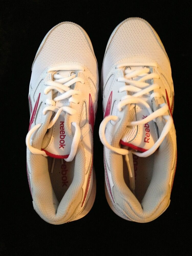 Reebok Doublehall Weiß Leder W/Pink Logo 7.5 Athletic Sneakers SHOE Größe 7.5 Logo NWB b9270a