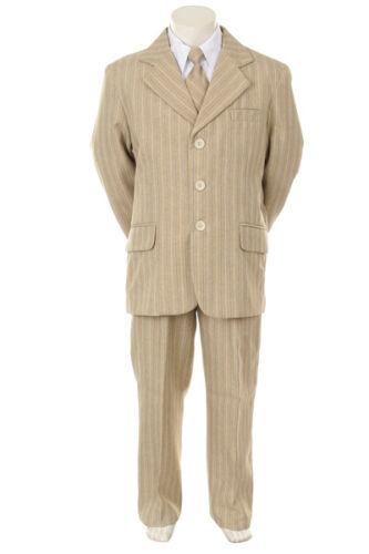 Boys 5 PC Formal Dress Tuxedo Suit Suit Set Khaki pinstripe size S-XL 2T-20