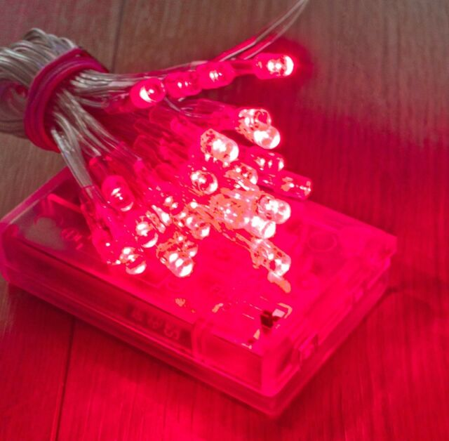 30 RED LED AA Battery Lights For Glamping Leeds Festival Camping