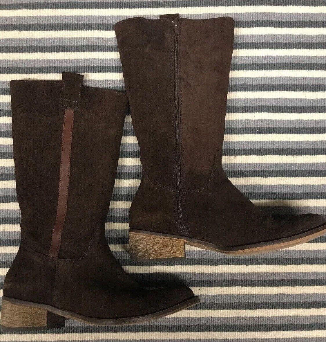 Jeffrey campbell womens boots tall zipper brown suede 8