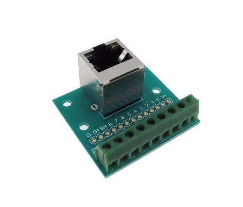RJ45 Ethernet Connector Breakout Board Module 180 Vertial Screw terminals Grn