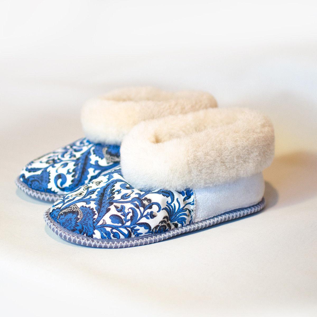 Russian Fur Slippers   100% Natural Sheepskin   Winter   Socks   Wool   Gzhel