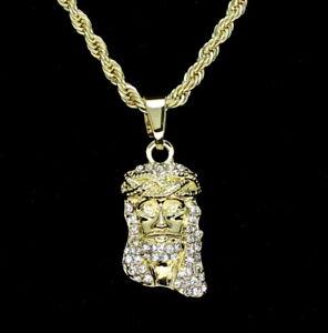 Mini-Jesus-Piece-Cz-14k-Gold-Plated-w-24-034-Rope-Mens-Womens-Necklace-Hip-Hop