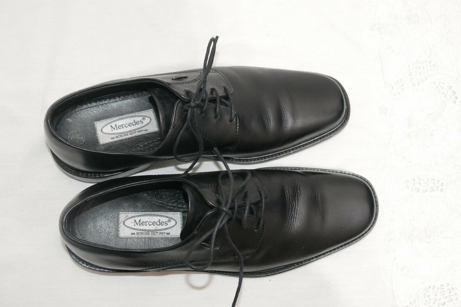 1088---Mercedes Herren Schnürer UK komplett 9 Gr 43 Leder komplett UK schwarz …wie neu… b05fb7