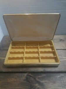 Vintage-Mele-Travel-Case-Jewelry-Box-Tan-Floral-Hardcase-10-25-x-6-5-inches-EUC