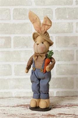Boy Bunny Rabbit Doll Holding Carrot Easter Spring Farmhouse Table Top Decor