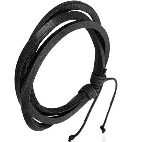 Bracelet homme moderne ZENSE ZB0050 avec trois rangs en cuir noir et ajustable