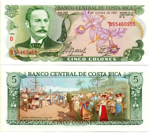 COSTA RICA 5 Colones 04.10.1989 Pick 236d UNC *RARE*