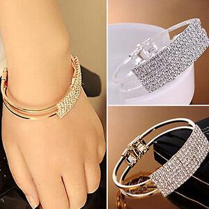 Image Is Loading Magnetic Crystal Bracelet Cuff Bangle Bling Elegant Gold