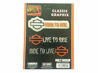 Harley Davidson Classic Graphix Sticker Born to Ride,Live to Ride,Ride to Live