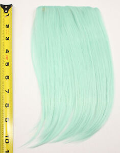 10-039-039-Long-Clip-on-Bangs-Mint-Green-Cosplay-Wig-Hair-Extension-Accessory-NEW