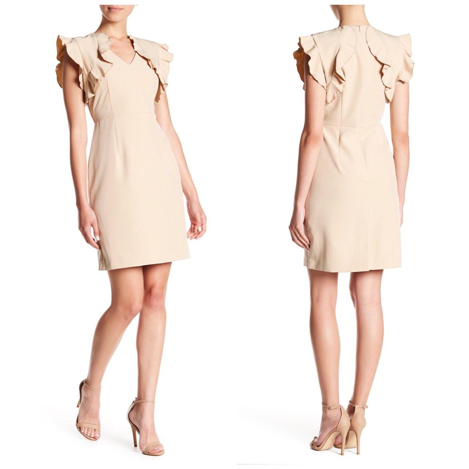 Sharagano Women's Size 10P Natural Ruffle Trim Trim Trim Career Dress In Nude Beige 11b1eb