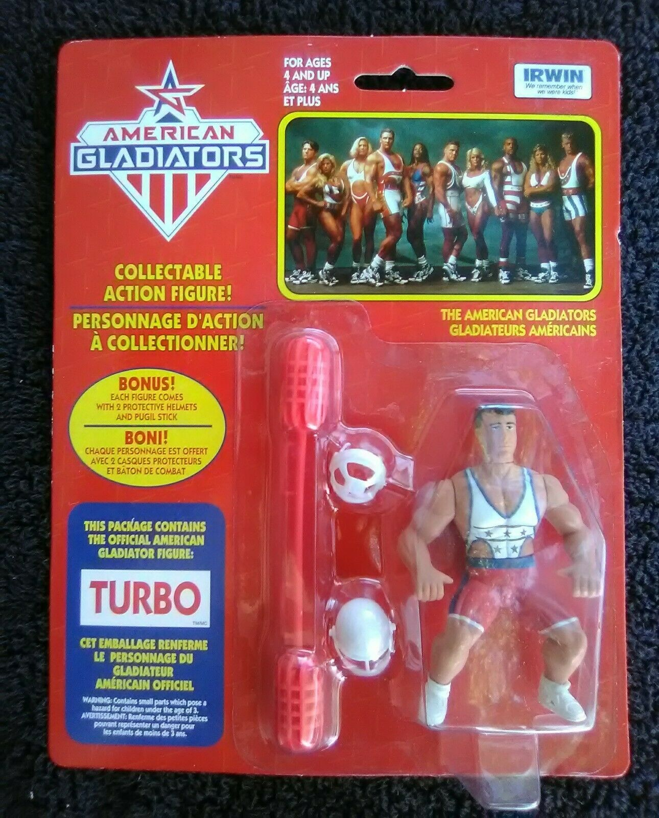 American Gladiators Turbo Action Figure Irwin Company Printed in Hong Kong NEW