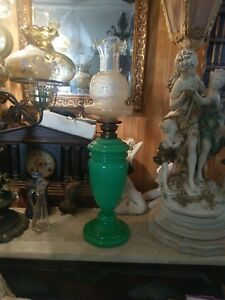 Stunning-Large-Green-Mid-1800s-Oil-Lamp-RARE-and-Gorgeous