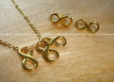 Feng Shui - Set of Triple Infinity Necklace and Earrings (Gold Stainless Steel)