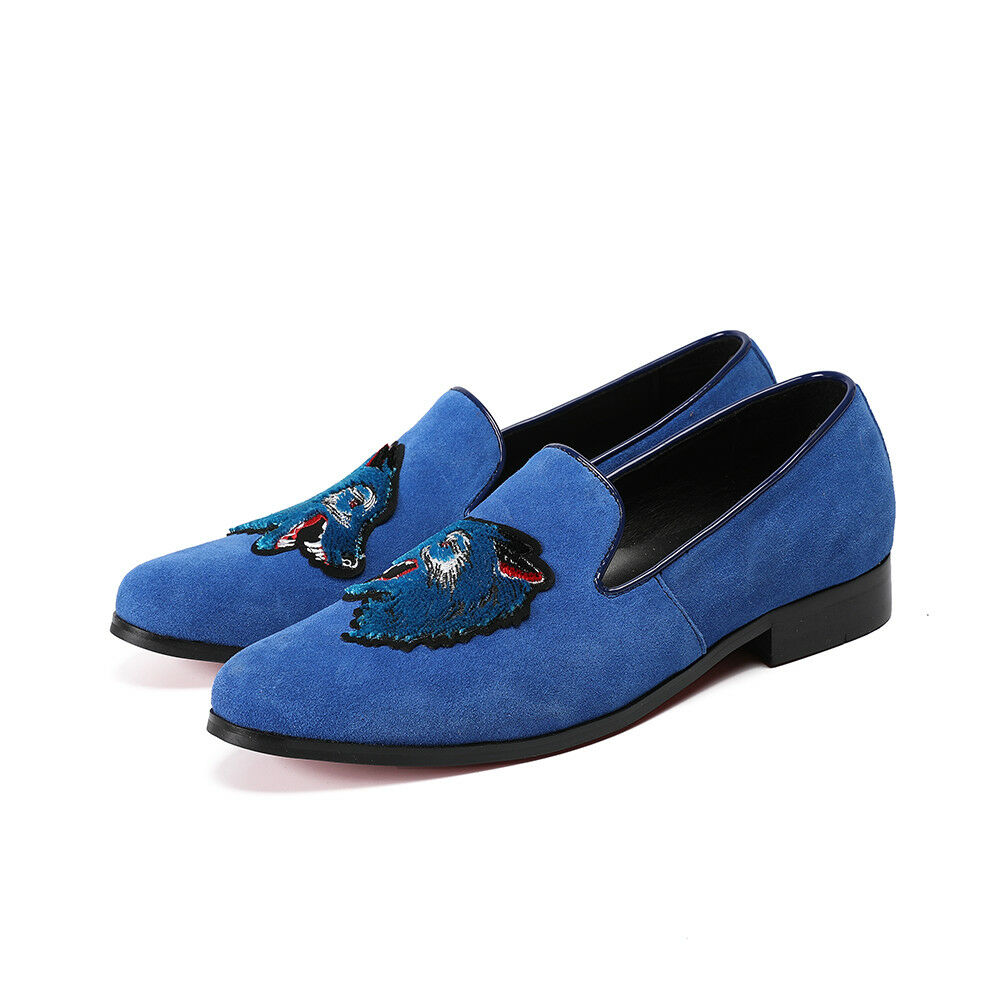 Men's Slip On Loafers Embroidered Dress Wolk Leather shoes boat driving shoes