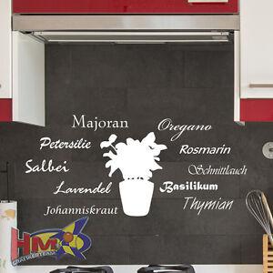 Details zu HM© Wandtattoo Kräuter Gewürz Küche Pflanzen 100x46cm WT-0100