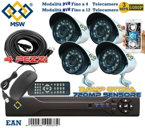 KIT VIDEOSORVEGLIANZA 4 TELECAMERE AHD HD PROFESSIONALI 24 LED IR CON 4 CAVI 20M