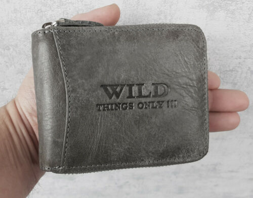 Men/'s Leather Wallet Briefcase with Zipper Rfid Protection