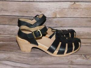 Dansko-39-8-5-Black-Leather-Sandals-Ankle-Strap-Buckle-Open-Toe-Shoes-Heels