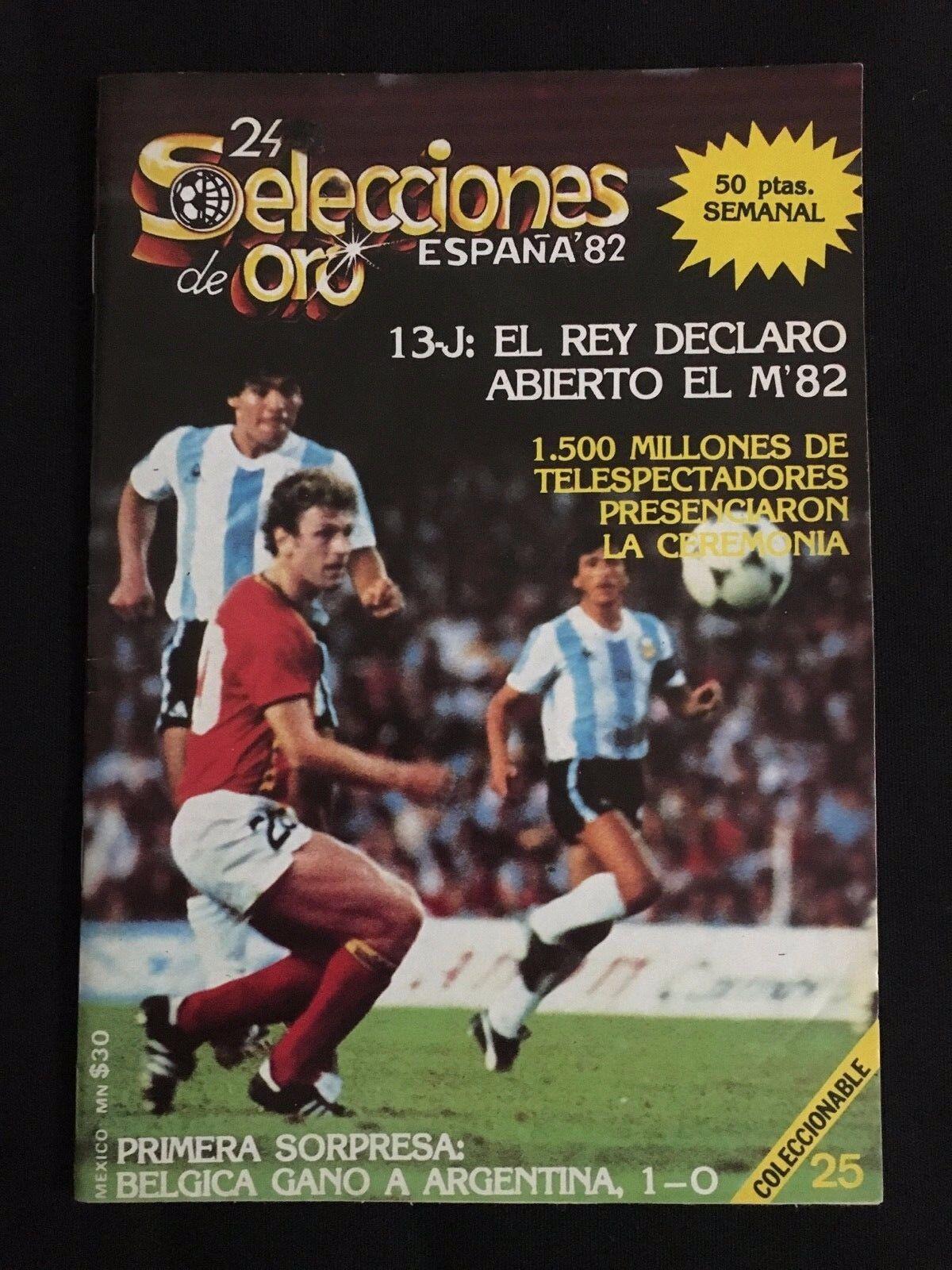 REVISTA 24 SELECCIONES DE oro ESPAÑA 82 Nº25  plataINA-BELGICA MUNDIAL 1982