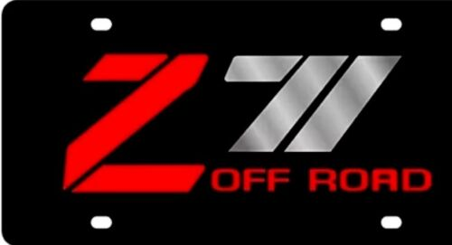 Z71 Off Road Chevy License Plate Chevrolet Truck Black Aluminum Red and Chrome